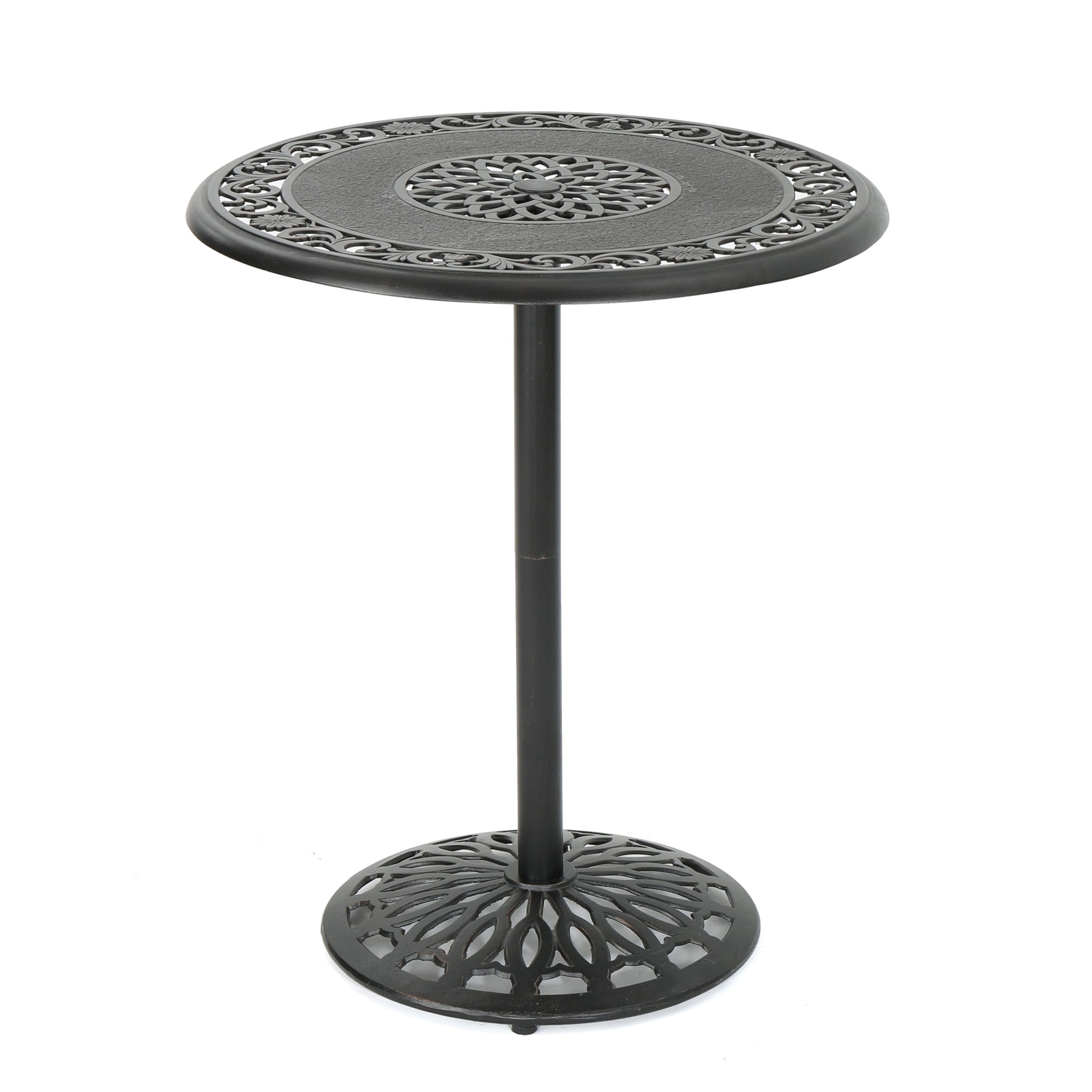 Hannah Outdoor Round Aluminum Bar Table With Umbrella Hole Only By Christopher Knight Home Shiny Copper Brown Patio Furniture
