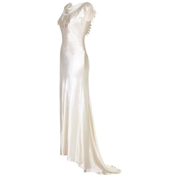 Cowl Neck Satin Wedding Dresses: Preowned 1930s Ivory Satin Wedding Dress With Cowl Neck