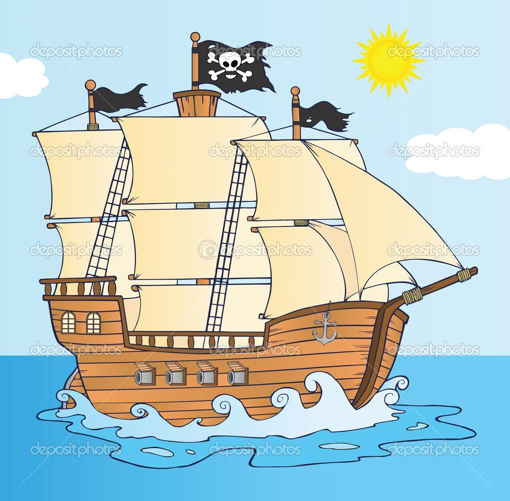 Coloriage Bateau Pirate Couleur.Bateau Pirate Naviguant Sous Le Personnage De Dessin Anime Drapeau