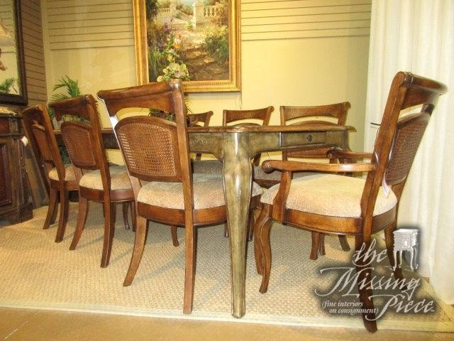 Dining Room Table Protective Pads Delectable Hooker Plank Top Dining Table On A Painted Olive Base With Eight Decorating Design