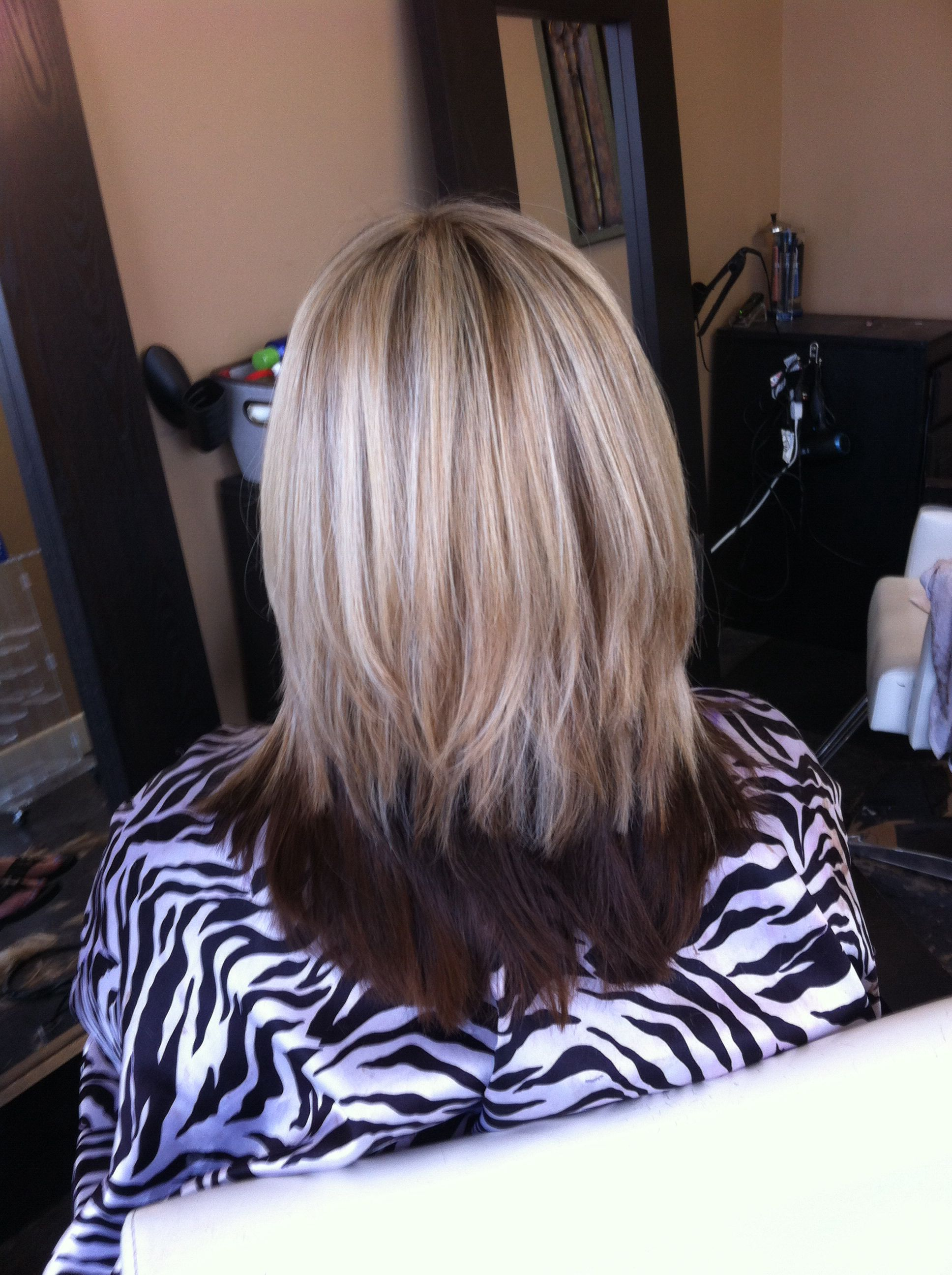 Thick Hair With Lots Of Layers Dark Underneath And Blondes On Top
