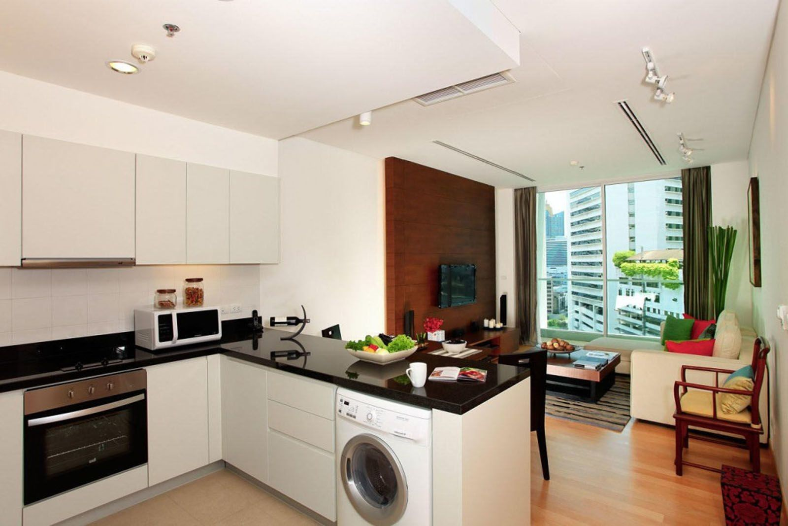Simple Kitchen And Living Room Design Living Room And Kitchen