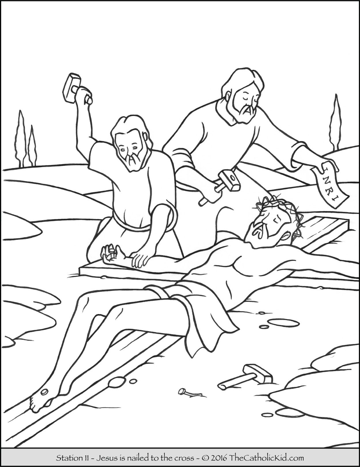 stations of the cross coloring pages 11 jesus is nailed to the