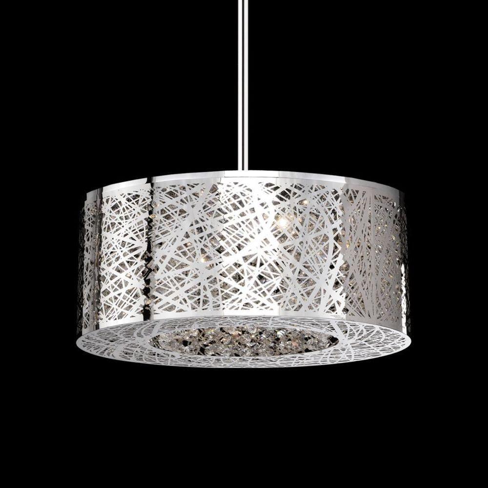 New 8 Lamp Drum Shade Dia20'' LaserCut Crystal Chandelier