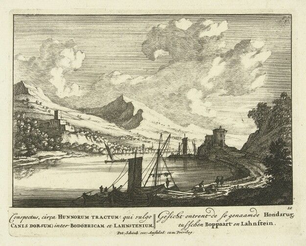 A view of the Rijn between Boppard and Lachstein.. 1695-1705
