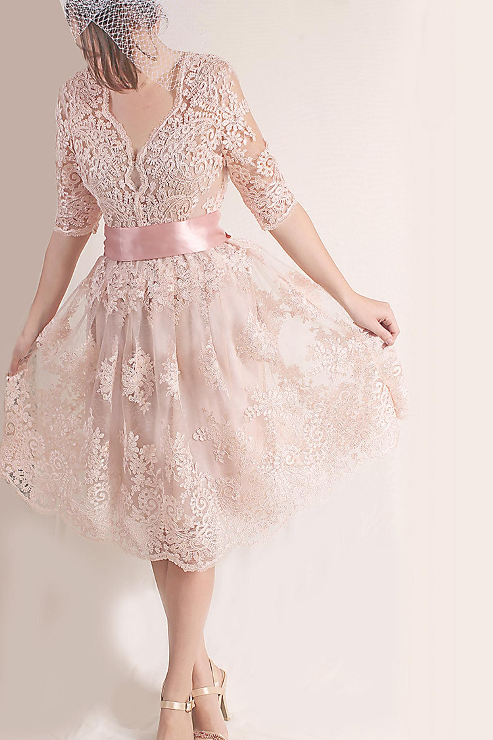 Plus Size Lace Short Dress Blush Pink Wedding Party Gown Etsy In 2020 Lace Pink Dress Short Lace Dress Blush Wedding Dress Lace