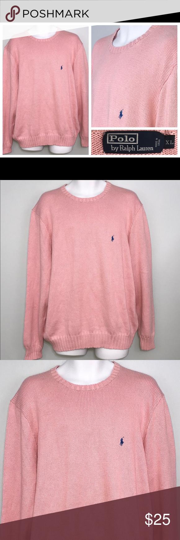 Polo Ralph Lauren Men S Pink Cotton Sweater Xl Polo Ralph Lauren Men S Light Pink Knit Crewneck Pullover Cotton Sweater If You Have Cotton Sweater Sweaters Polo Ralph Lauren