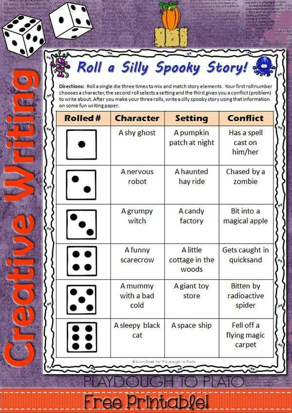 003 Using dice to help plan a story Halloween writing