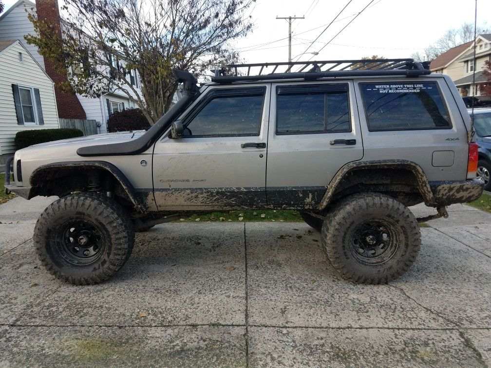 Jeep Xj Snorkel Roof Rack Mud Flat Flares Silver Long Arm