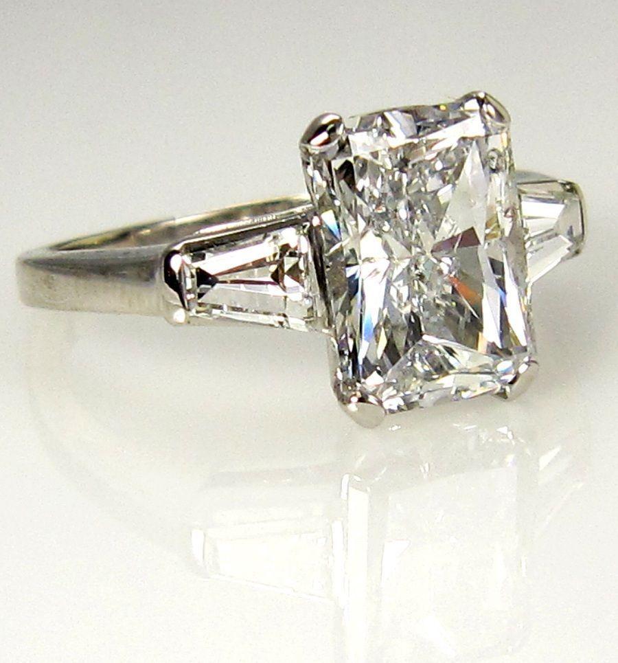 Ct estate radiant cut diamond engagement ring egl usa in