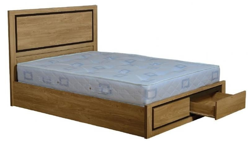 Bedroom Brown Wooden Double Bed With Storage On Top Soring Bed