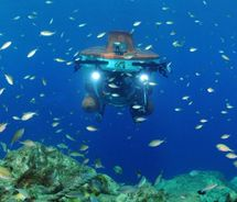 Curacao Island: Over, Under, Sideways, Down The Curasub, a mini-submarine, can reach depths of 1,000 feet. // © 2012 Curacao Tourist Board