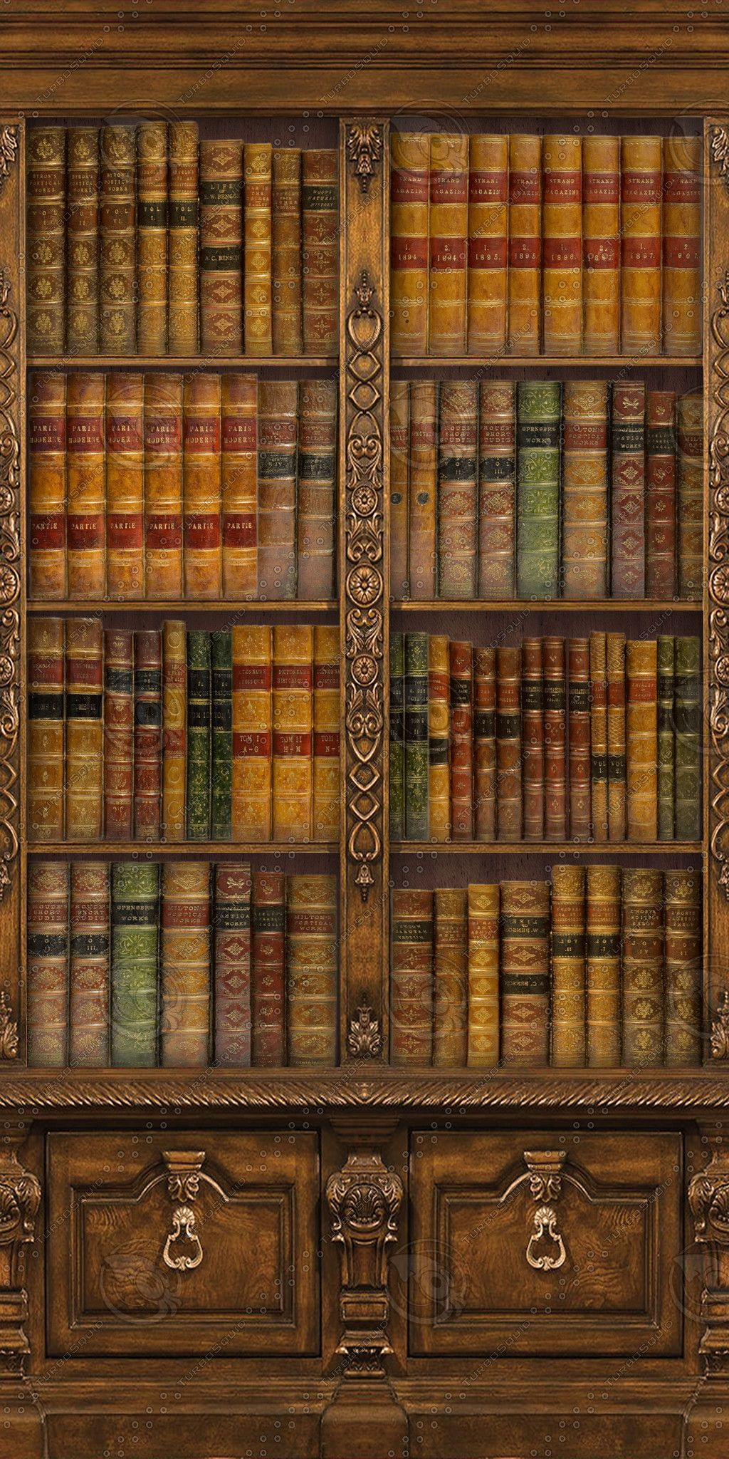 Texture Mapping Neo Victorian Bookcase Steampunk Retro Shelving Book Shelves