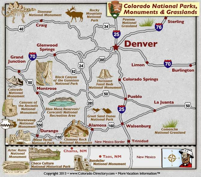 Colorado National Parks Monuments and Grasslands Map Colorado