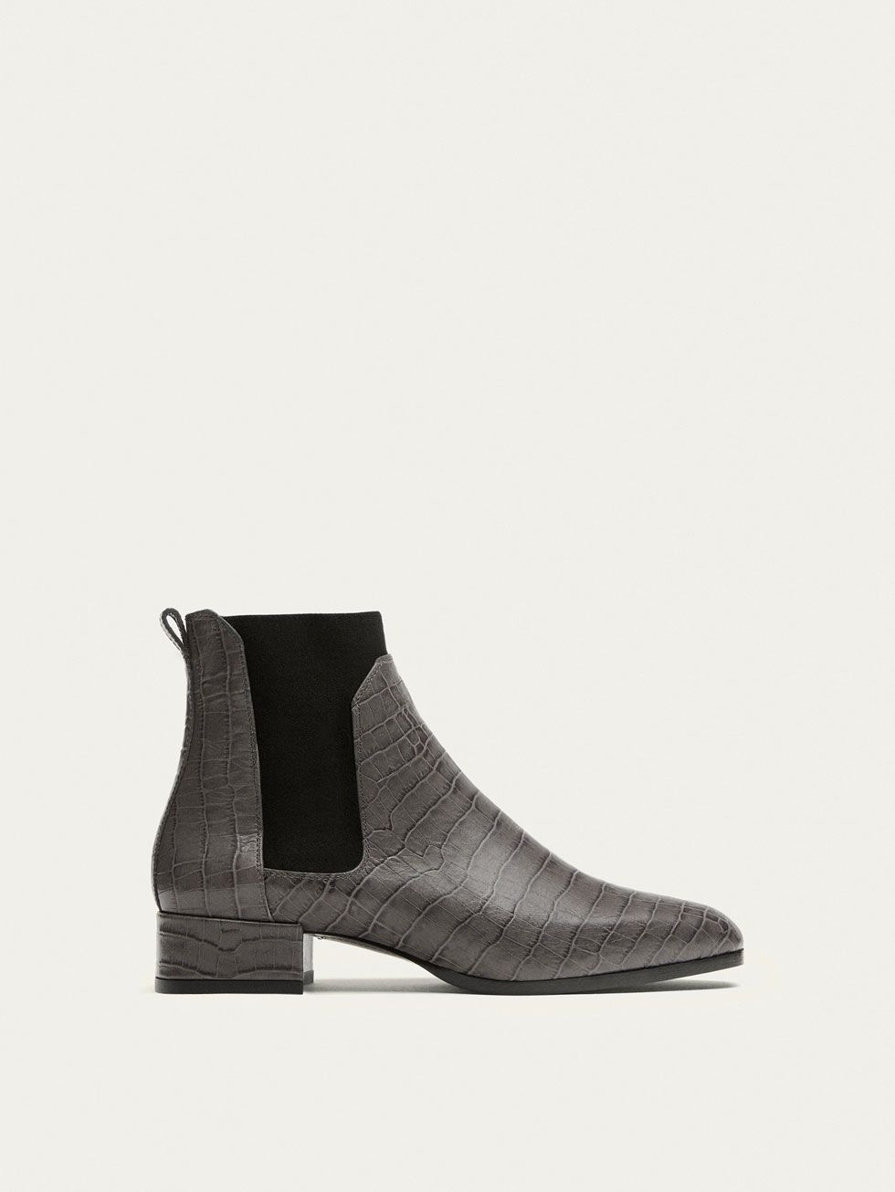 870e7d638351 Fall Winter 2017 Women´s GREY LEATHER STRETCH ANKLE BOOTS WITH ANIMAL PRINT  at Massimo Dutti for 129. Effortless elegance!