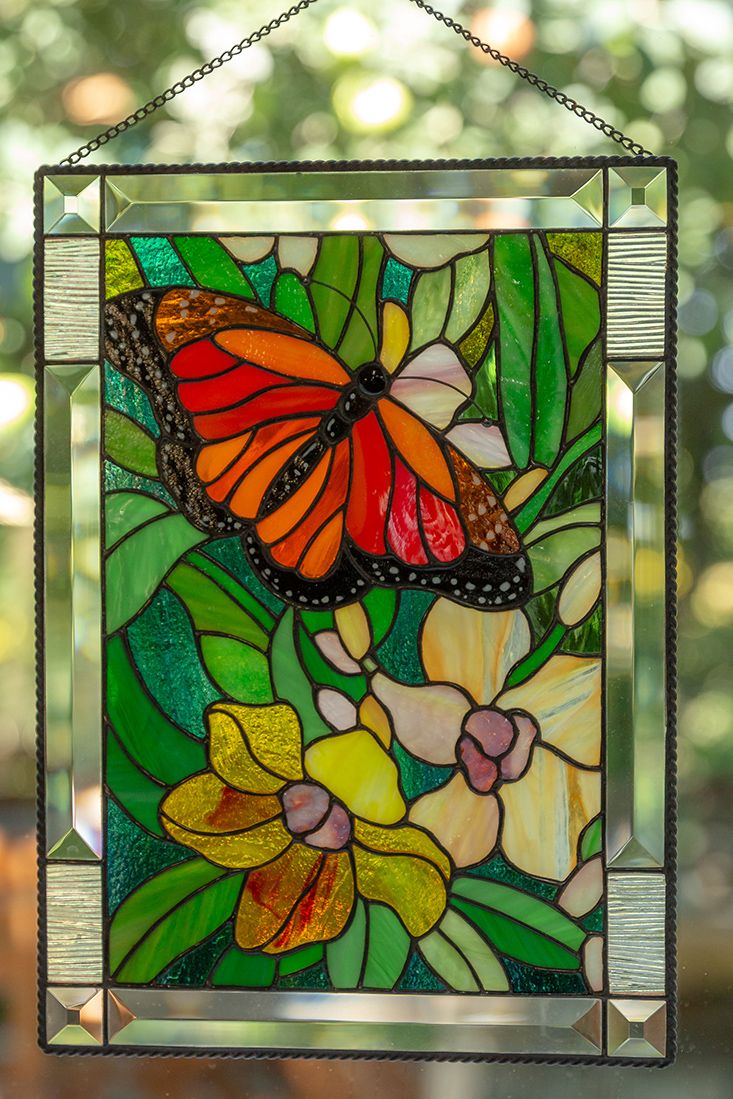 Monarch Butterfly Wall Art Custom Stained Glass Panel Parent Etsy In 2020 Stained Glass Window Panel Stained Glass Butterfly Butterfly Wall Art