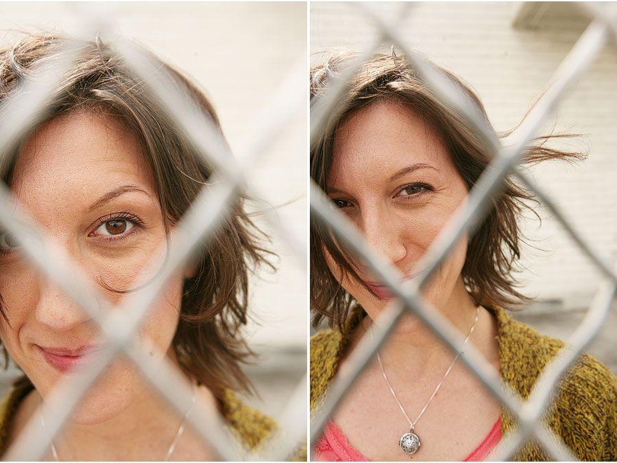 Through a chain link fence