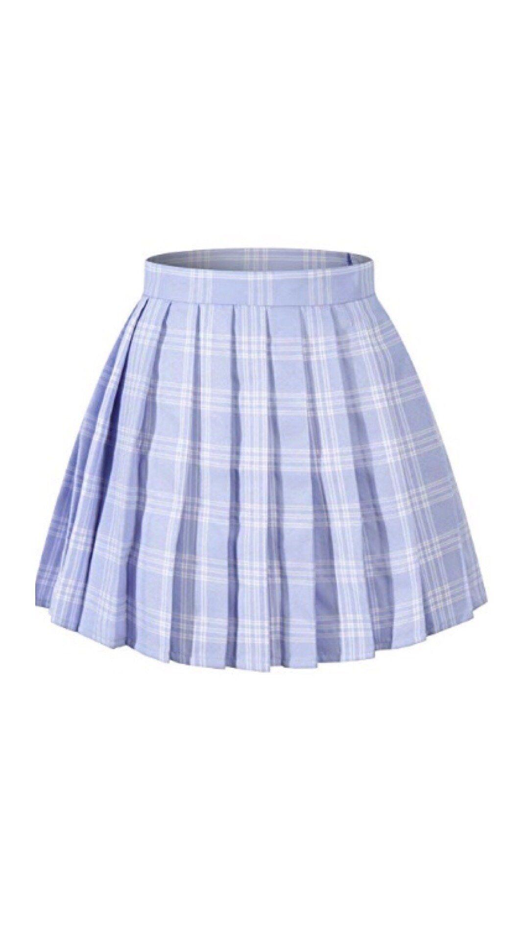 Blue Plaid Pleated School Tennis Mini Skirt