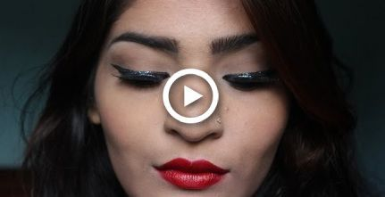 Glitter winged liner and red lips-pinup look tutorial -  #glitter #liner #lipspinup #pinup #R... #wingedliner