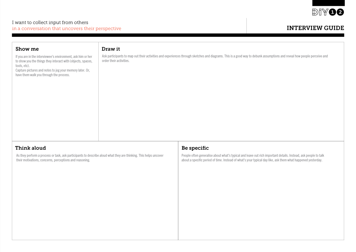 Tool Worksheet Image for Interview Guide | UX: Personas | Interview