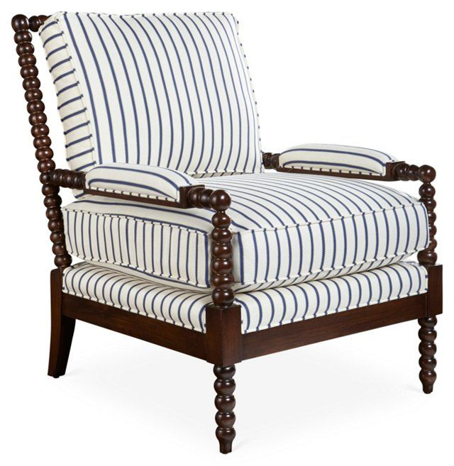 Best Bankwood Spindle Chair Navy Stripe Spindle Chair Blue White Living Room Living Room White 400 x 300