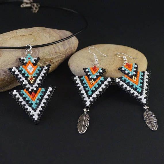 Boho beaded earrings native american earrings, ethnic earrings dangle earrings, long earrings, tribal earrings for women black jewelry