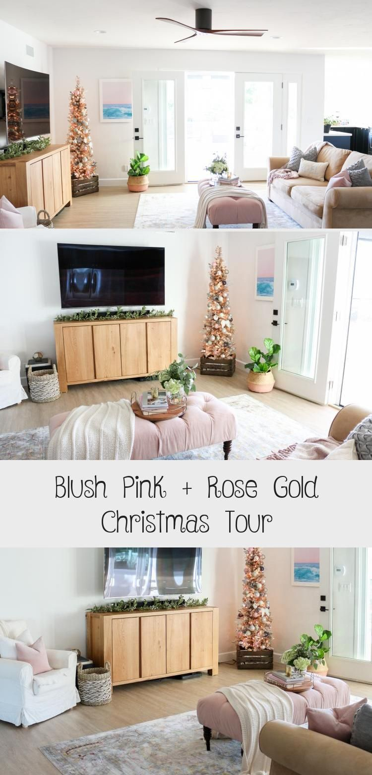 blush pink  rose gold christmas tour  decor  rose gold
