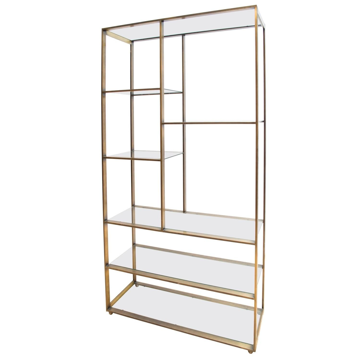 exceptional Brushed Nickel Etagere Part - 9: Bronze and Glass Milo Baughman Etagere