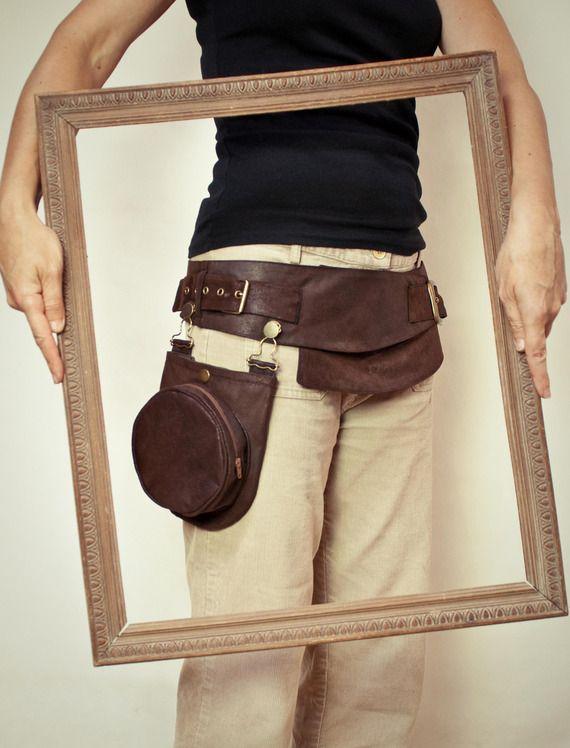 ceinture steampunk à poche amovible, imitation suédine vegan