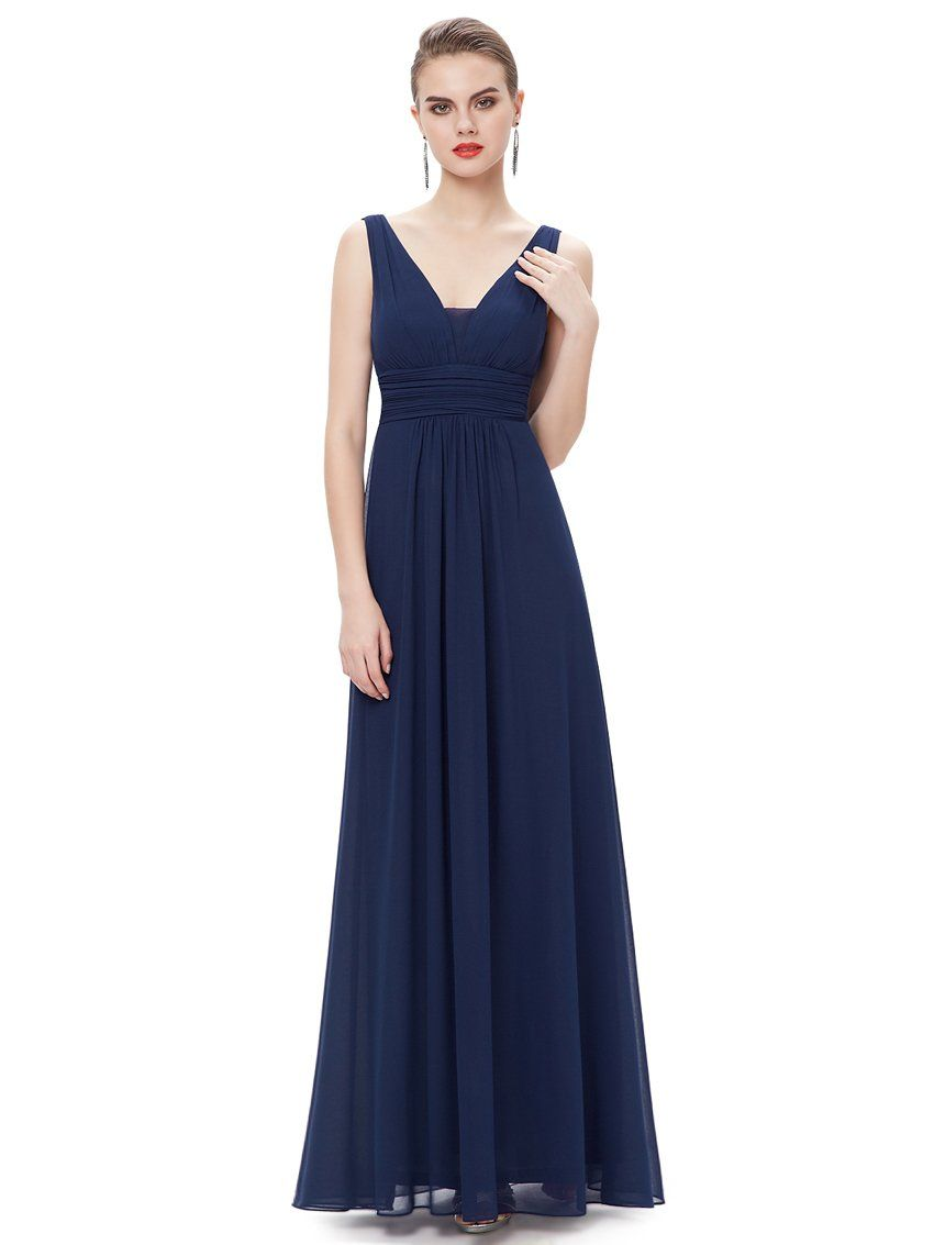 Ever pretty double vneck ruched waist ladies long evening dress