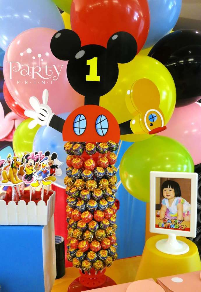 Lollipop Display At A Mickey Mouse Clubhouse Birthday Party See More Party Ideas At Catchmyparty Com