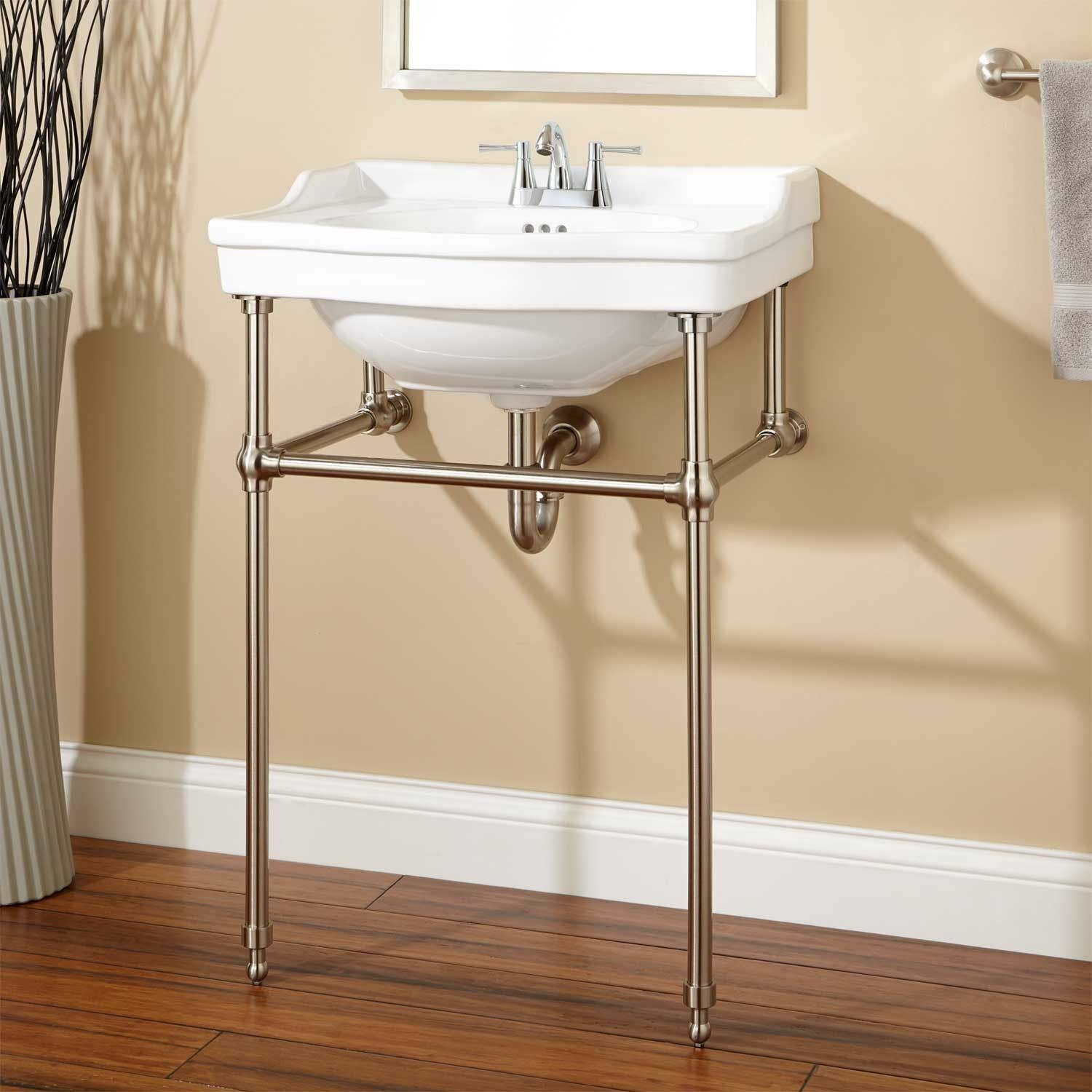 Console sink with chrome legs - Cierra Console Sink With Brass Stand 4 Faucet Drillings Polished Nickel