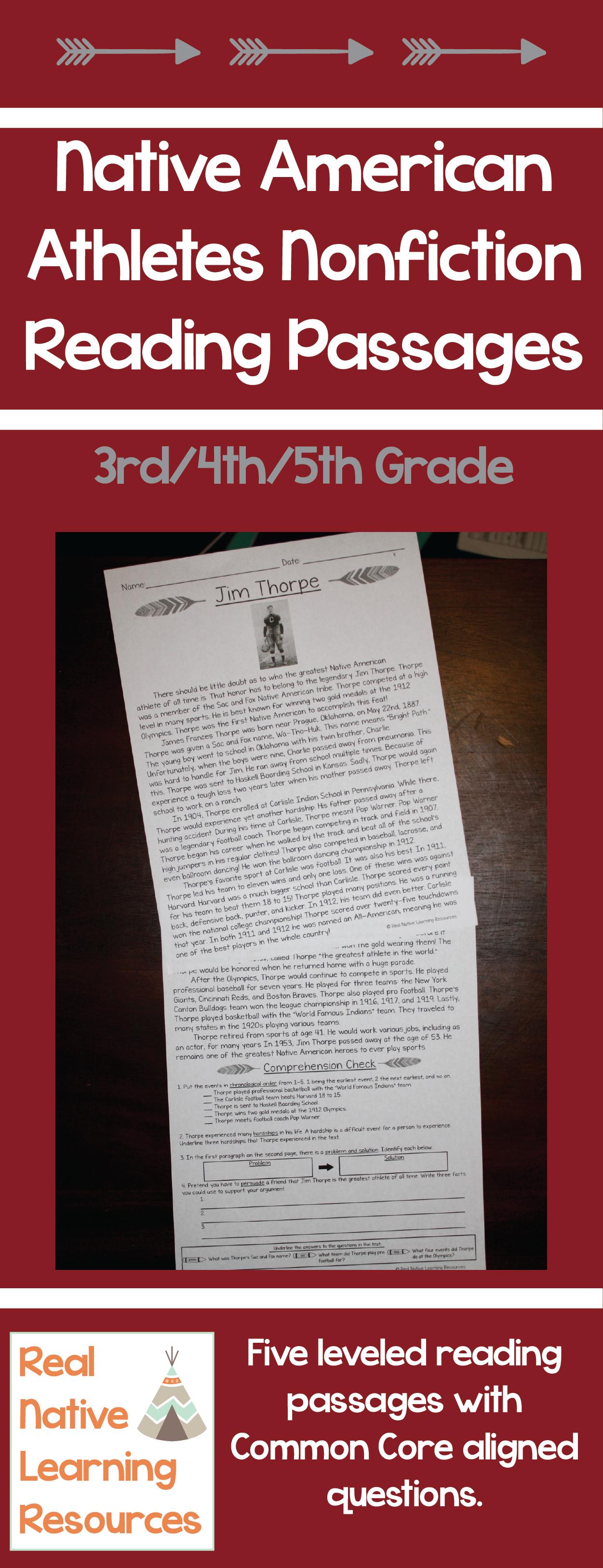 Nonfiction Close Reading Native American Athlete Passages