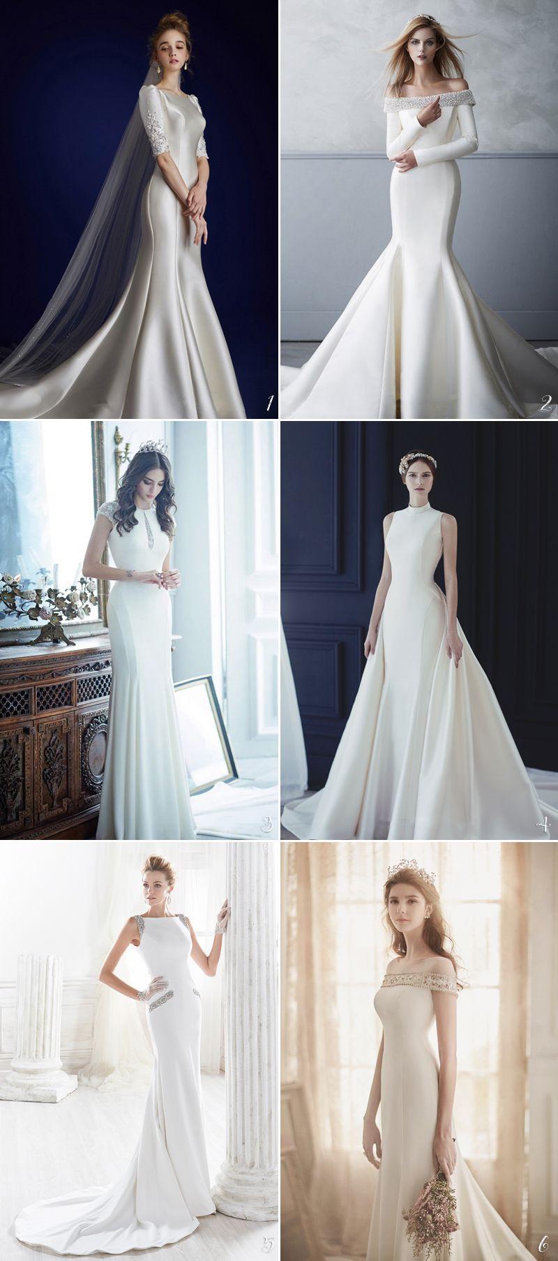 30 Timelessly Elegant Structured Wedding Dresses You Will Fall In Love With Structured Wedding Dresses Simple Wedding Gowns Timeless Wedding Dress [ 1806 x 800 Pixel ]