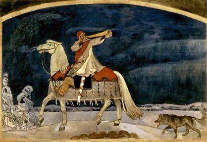 Kullervo departs for the War, by Akseli Gallen-Kallela (1901)   KALEVALA in a fancy golden frame