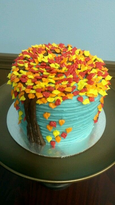 Fall cake with blue sky and tree with fall leaves Cakes Fall