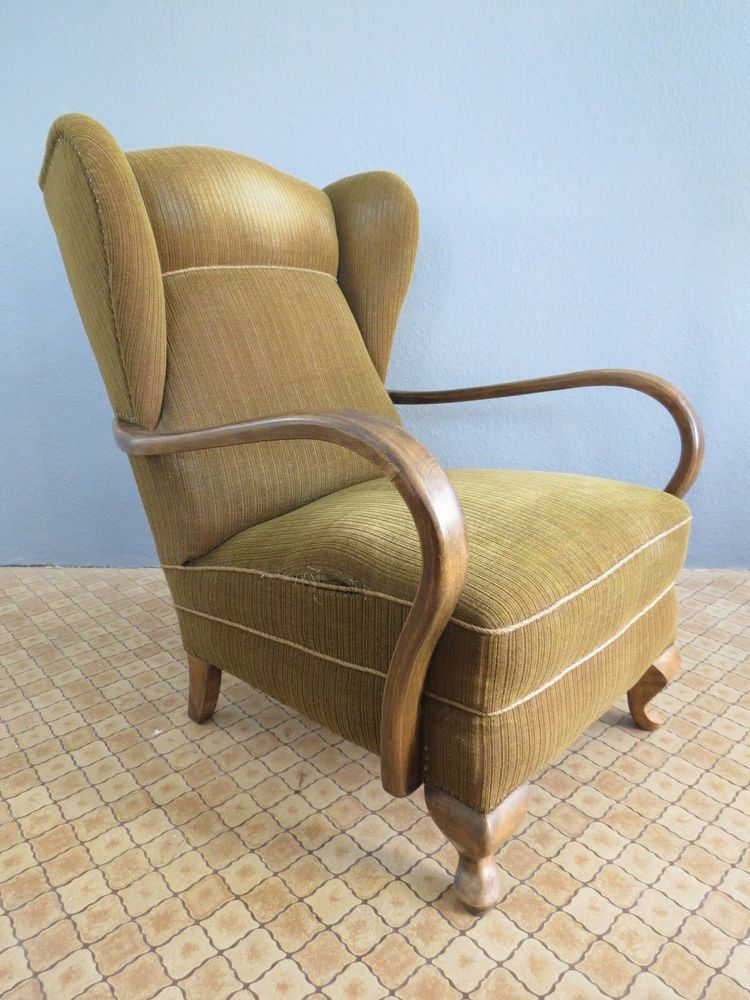 Old 20s 30s Original Vintage Art Deco CLUB LOUNGE CHAIR ARMCHAIR Bauhaus  Era 30s In Antiques