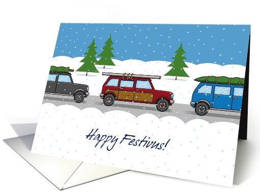 Happy festivus greeting card with a snowy scene with a festivus pole happy festivus greeting card with a snowy scene with a festivus pole strapped to the roof m4hsunfo
