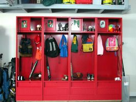 Garage Sports Storage Lockers For Each Kid S In The Best Idea Ever If You Dont Have A Mud Room