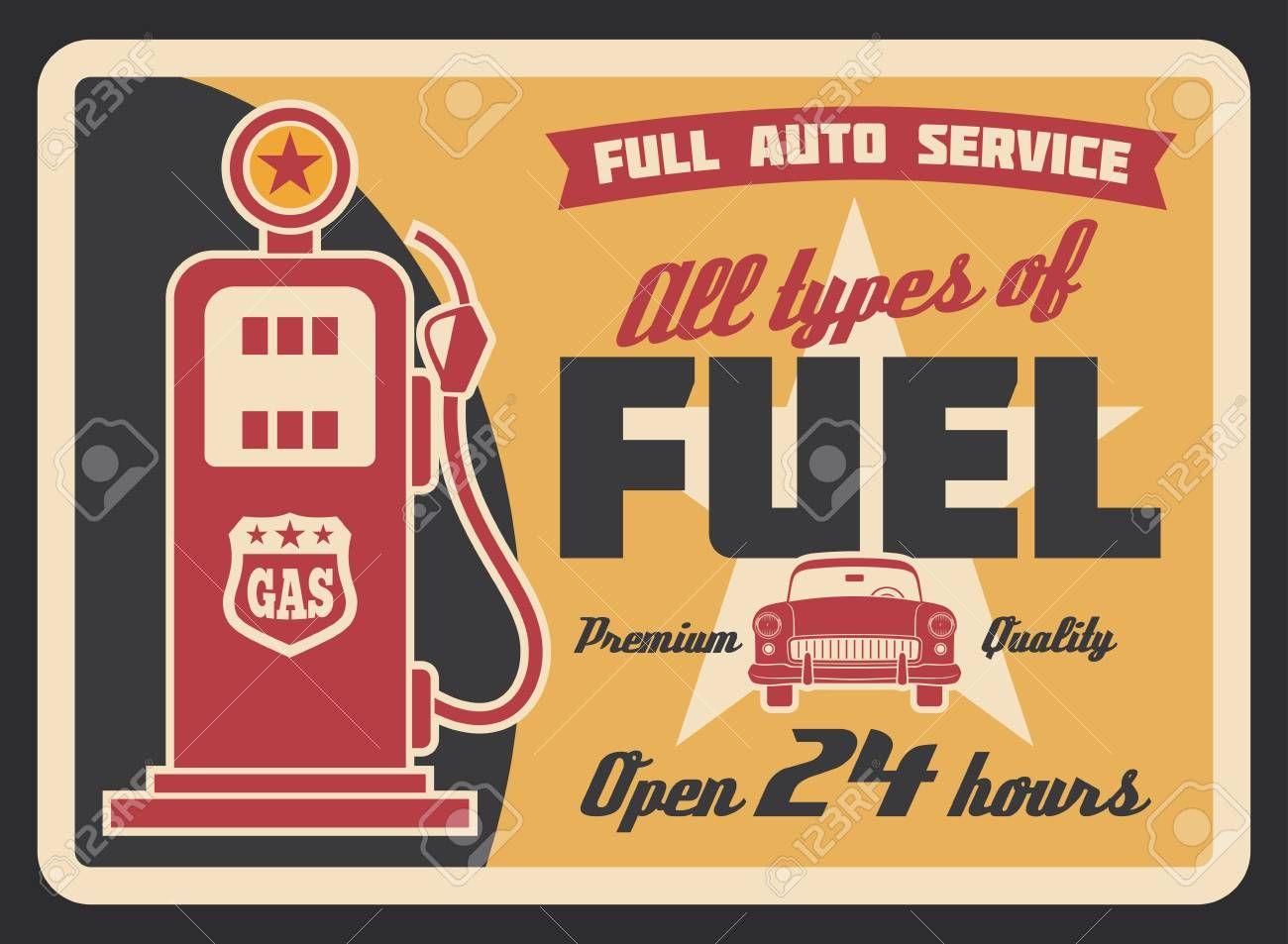 Gas Filling Station Vintage Banner For Car Service Template Retro