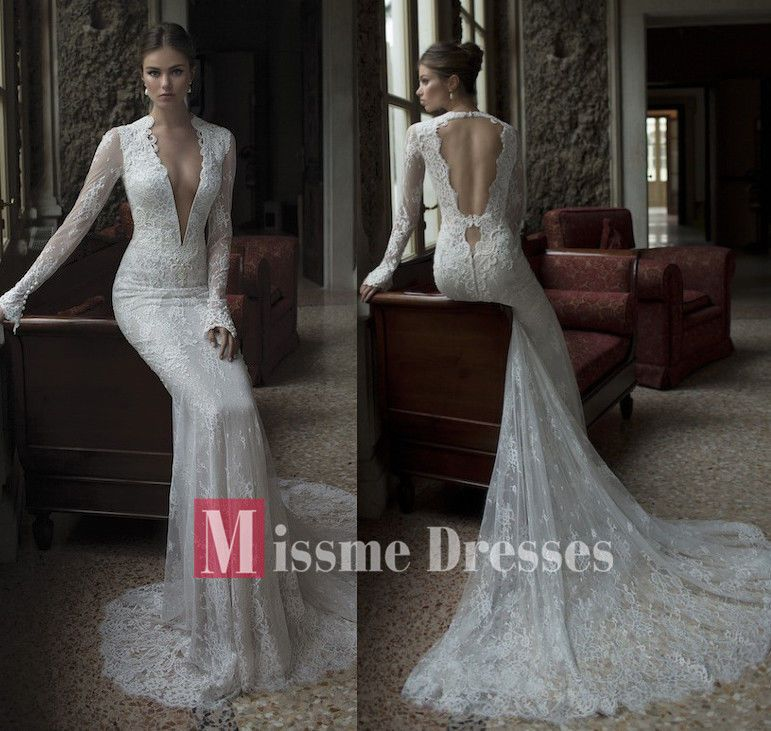 New Mermaid White Ivory Long Sleeves Bridal Gowns Backless Lace ...