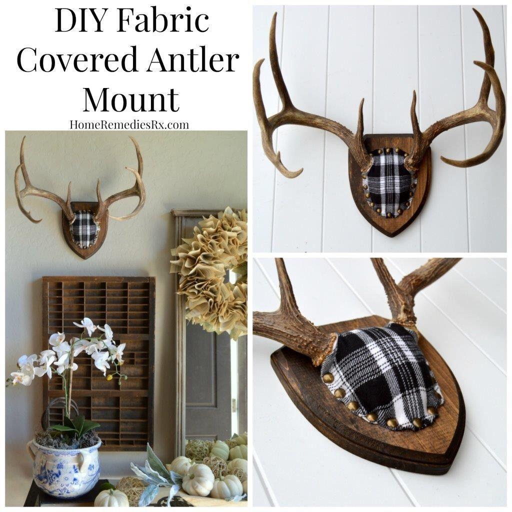 DIY Fabric Covered Antler Mount | Antler crafts, Antler