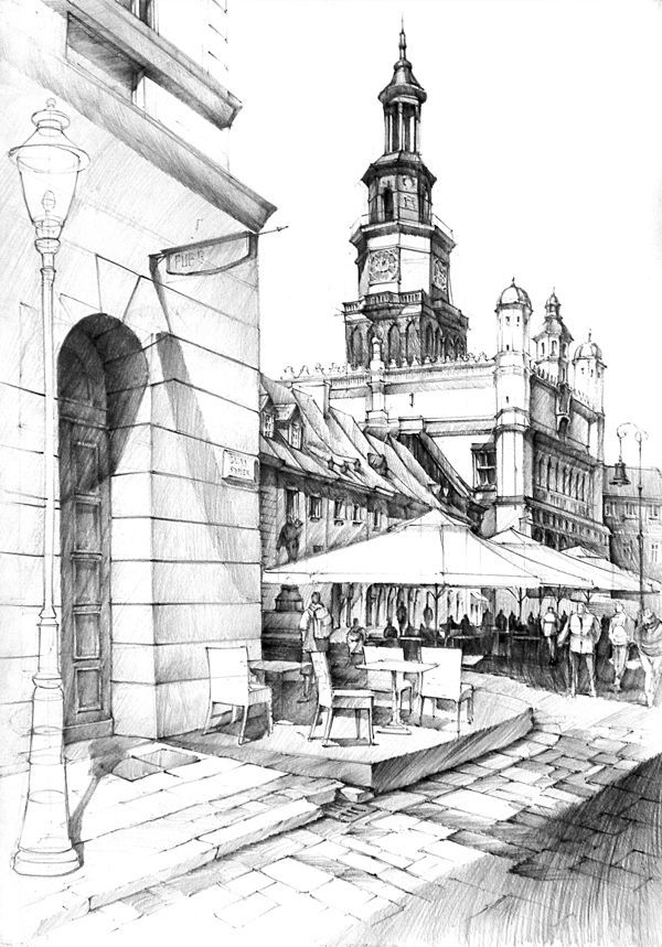 Cityscape. | Architecture sketch |City Building Sketches