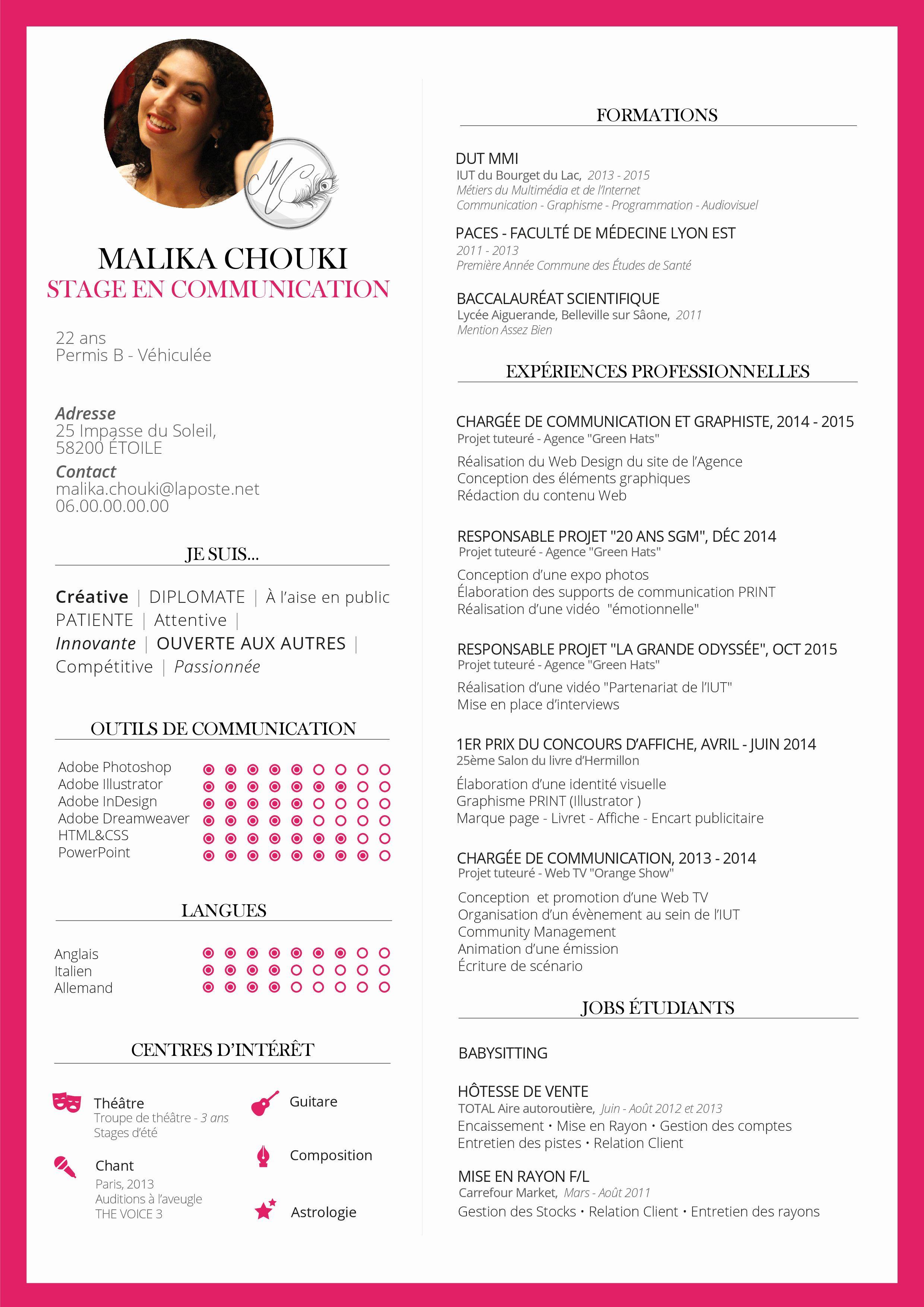 Cv Resume Pink Rose Illustrator Faculte De Medecine Medecine Permis B