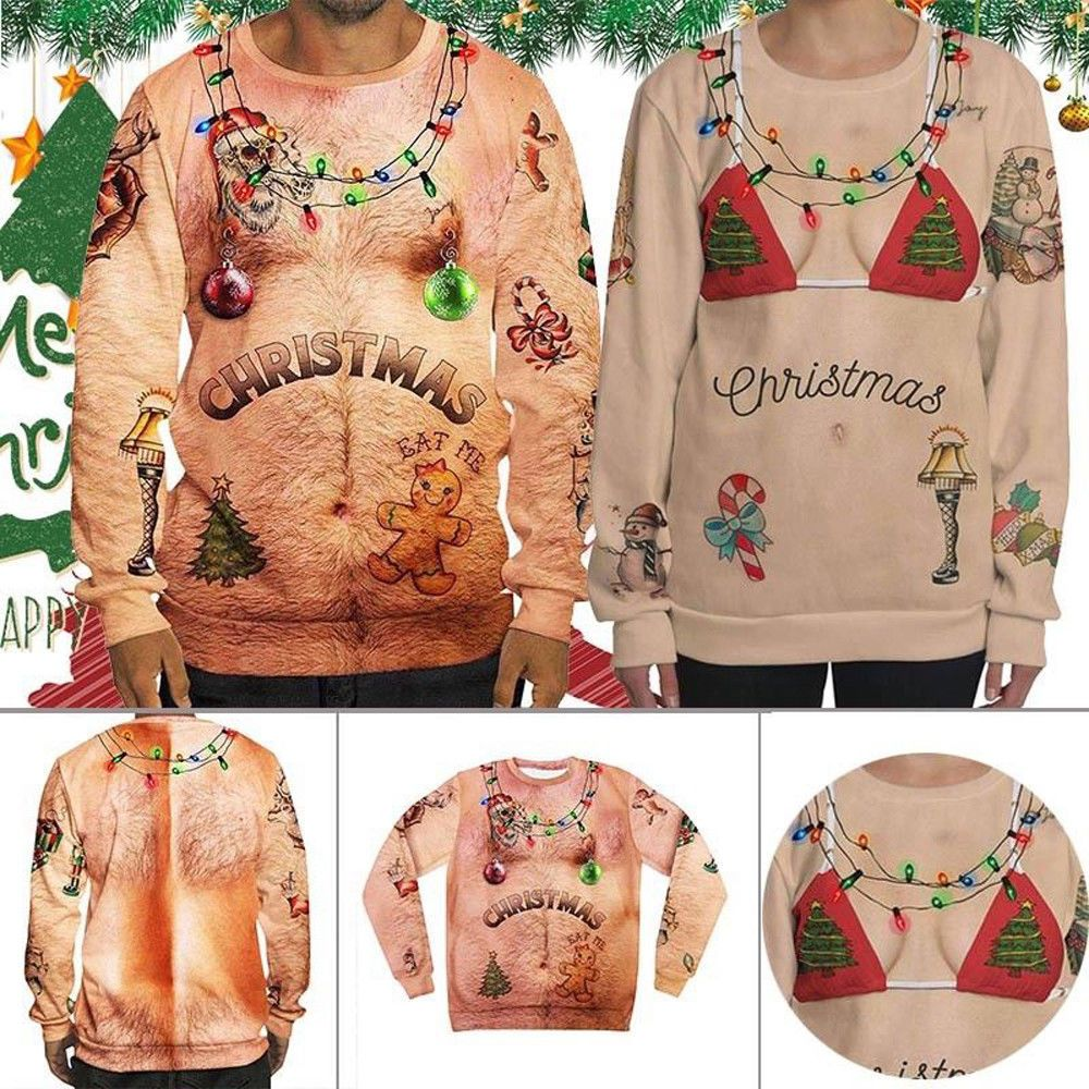 3d All Over Printed Hairy Chest Tattoos Man Girl Christmas Shirts