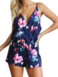 Blue Double V Spaghetti Strap Floral Romper Playsuit