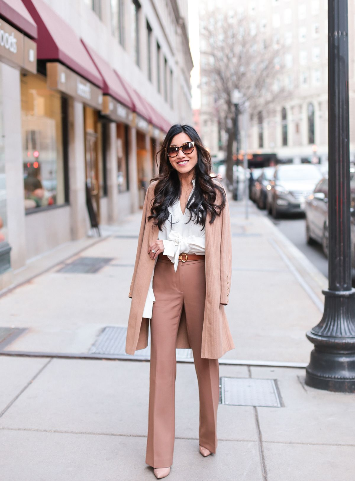 afc5a527c1e How to style a long duster cardigan    winter office style outfit ideas by  Extra Petite blog