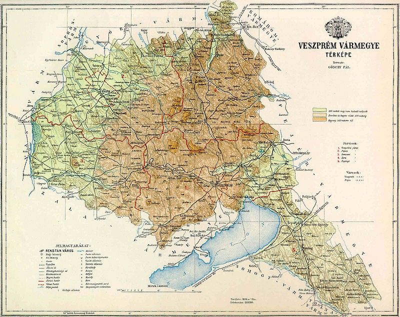 Veszprem Varmegye Domborzati Terkepe Terkep Magyarorszag