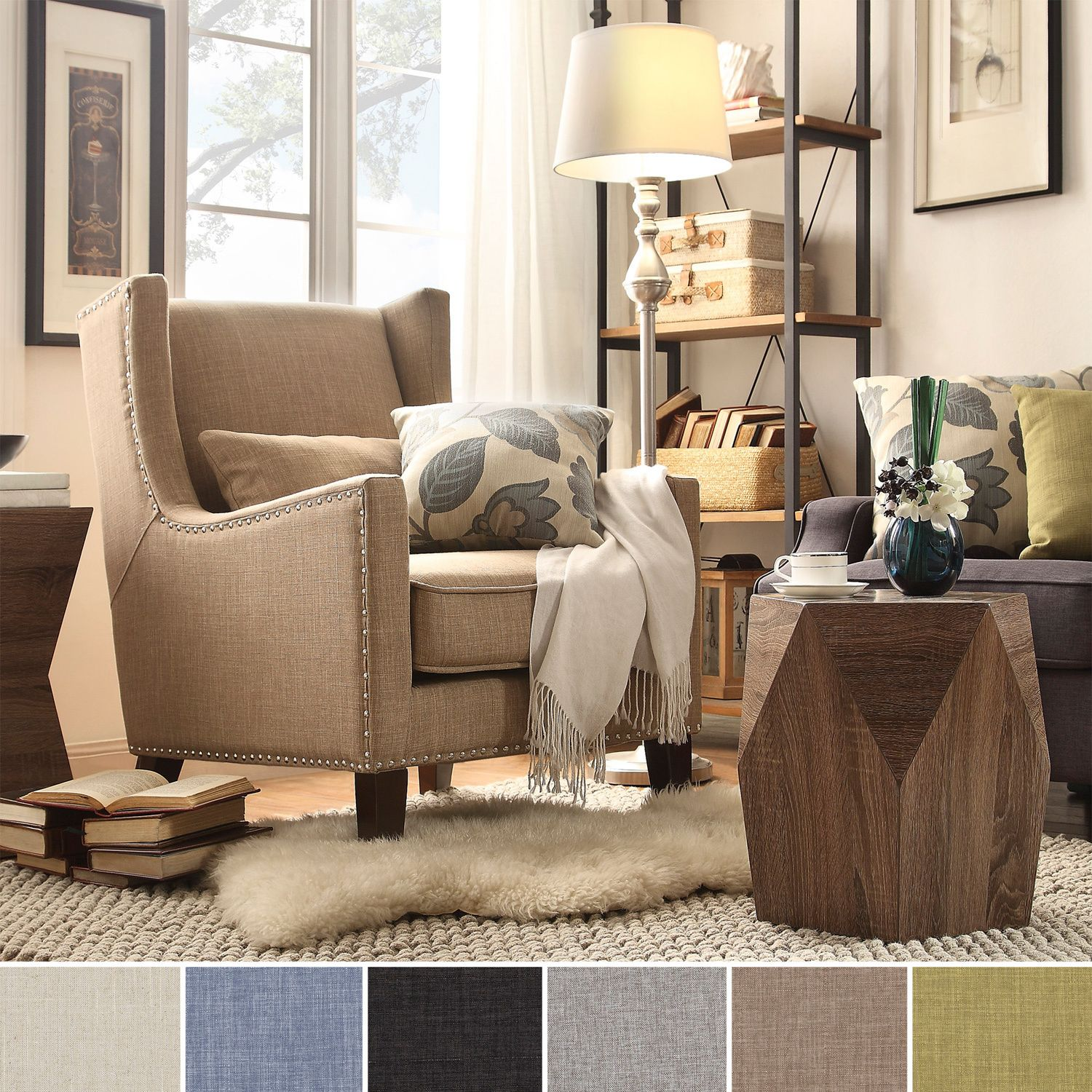 INSPIRE Q Henry Wingback Nailhead Upholstered Club Chair