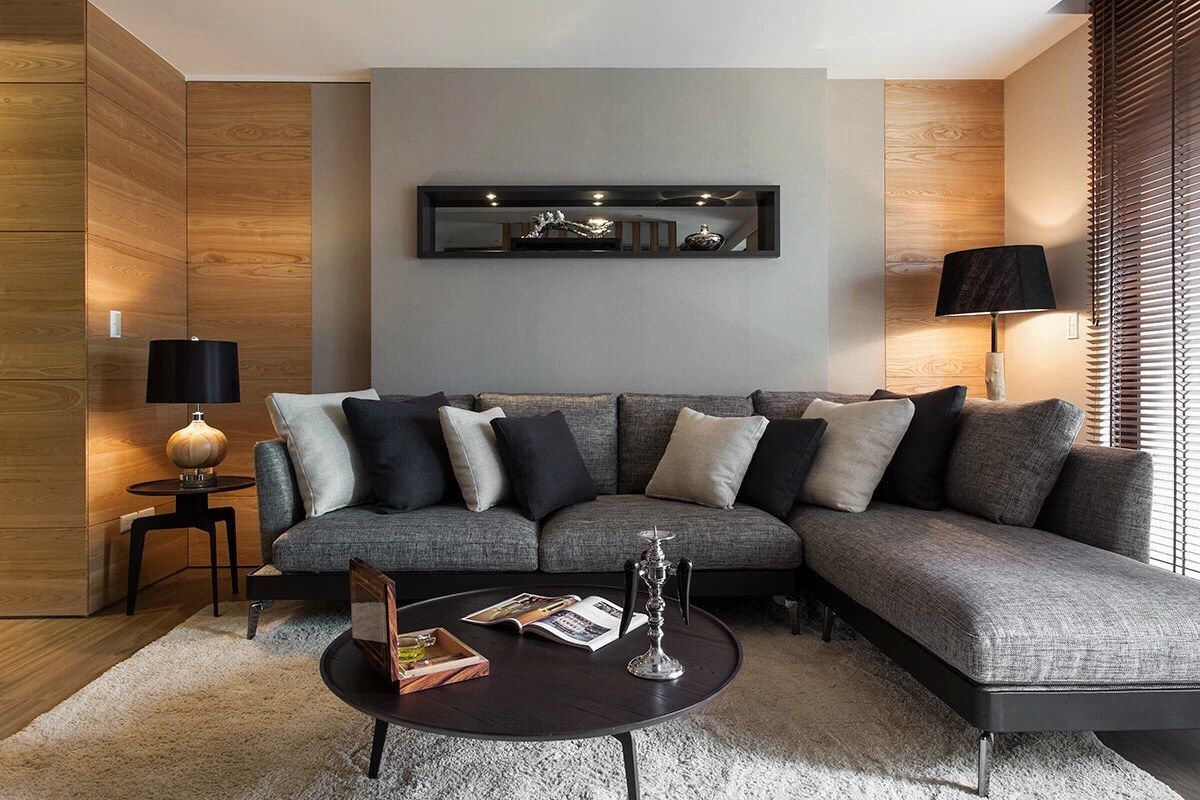 The Second Bedroom Showcases A TV Built Into Textured Wall Opposite Bed Modern But Mid Century Inspired Furnishings And High Ceilings P